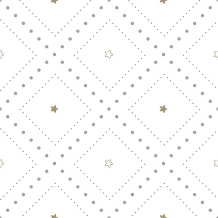 Holiday seamless pattern with small gold stars on white background. Vector illustration. Christmas background. For web design, wrapping paper, scrapbooking, for printing on textile, crockery, package.