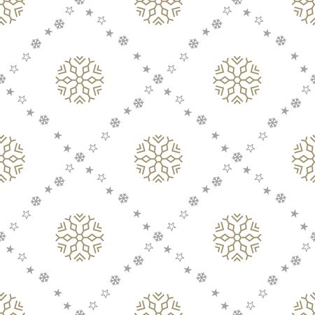 New Year seamless pattern with big snowflakes on white background. Vector illustration. Christmas background. For web design, wrapping paper, scrapbooking, for printing on textile, crockery, package. Ilustração