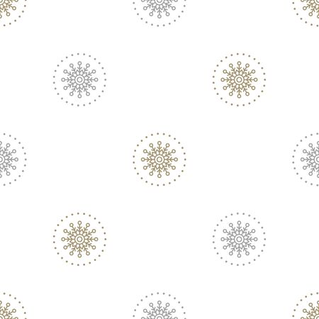 Christmas seamless pattern with gold and silver snowflakes on white background. Vector illustration. For web design, wrapping paper, scrapbooking, for printing on textile, crockery, package.