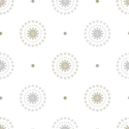 Christmas seamless pattern with snowflakes and stars on white background. Vector illustration. Holiday background. For web, wrapping paper, scrapbooking, for printing on textile, crockery, package. Ilustração