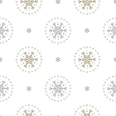 Holiday seamless pattern with big and small snowflakes on white background. Vector illustration. Christmas background. For web, wrapping paper, scrapbooking, for printing on textile, crockery, package
