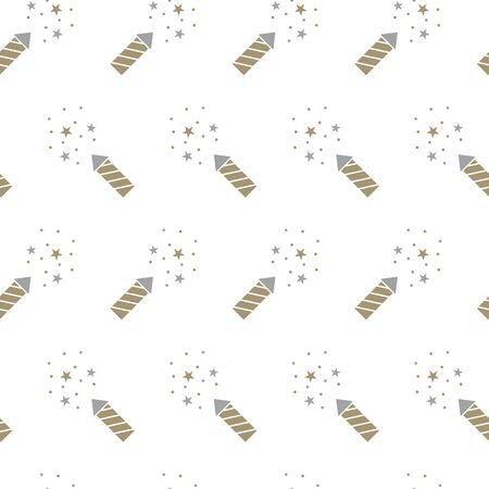 Christmas seamless pattern with fireworks and stars on white background. Vector illustration. New Year background. For web, wrapping paper, scrapbooking, for printing on textile, crockery, package.