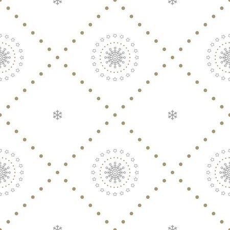 Holiday seamless pattern with openwork snowflakes on white background. Vector illustration. Christmas background. For web, wrapping paper, scrapbooking, for printing on textile, crockery, package.