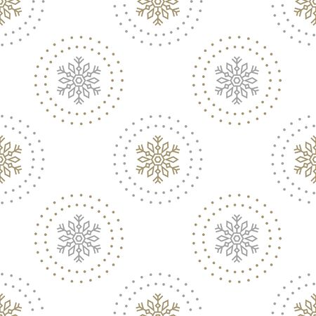 Holiday seamless pattern with large gold and silver snowflakes on white background. Vector Christmas background. For web, wrapping paper, scrapbooking, for printing on textile, crockery, package.