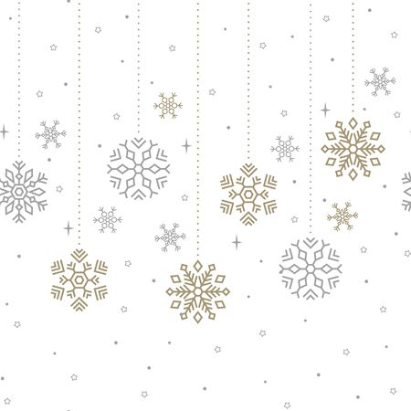 Holiday seamless background. Gold and silver snowflakes.