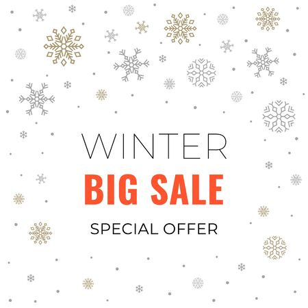 Winter sale banner on white background with snowflakes and text for business promotions in shops. Vector illustration. Special offer. For web design, banners and printing on leaflets, posters.