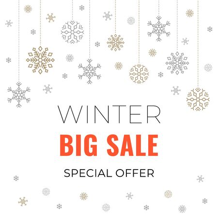 Winter sale banner on white background with garland of snowflakes and text for business promotions in shops. Vector illustration. Special offer. For web, banners and printing on leaflets, posters.