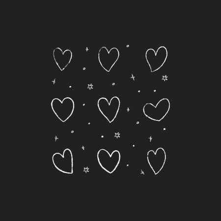 Set of hand drawn hearts. Vector illustration.