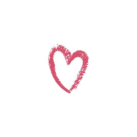Heart drawn with brush. Red heart icon. Vector illustration. For decoration Valentine s day. For greeting card, banners, web design, decoration of the storefront, for printing on cups, clothes.  イラスト・ベクター素材