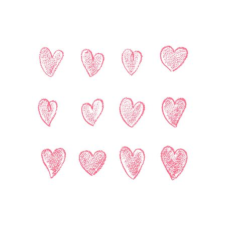 Set of hand drawn red hearts with texture. Doodle of hearts. Vector illustration. For decoration Valentine s day. For greeting card, banners, web, decoration of the storefront, printing on textile.