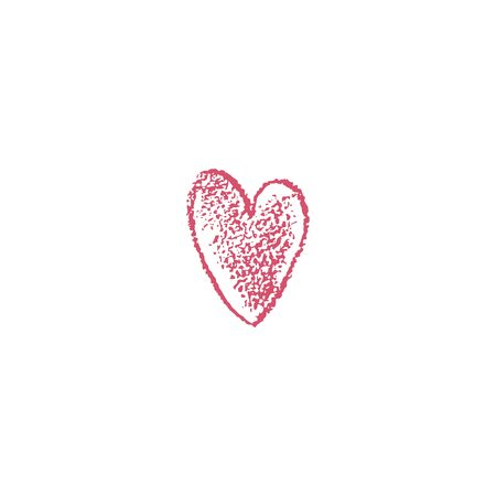Red heart icon with texture. Hand drawn heart. Vector illustration. For decoration Valentine s day. For greeting card, banners, web design, decoration of the storefront, for printing on cups, clothes.