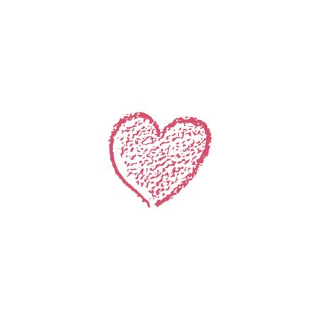 Red heart icon with texture. Hand drawn heart with scribble effect. Vector illustration. For decoration Valentine s day. For greeting card, banners, web design, for printing on cups, clothes.