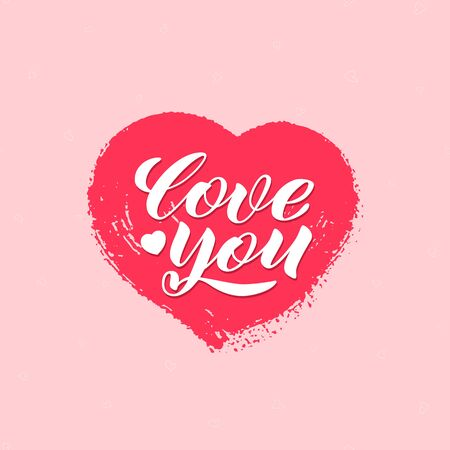 Love you vector lettering. Happy Valentines Day typography banner with handwritten calligraphy and heart on pink background. Vector illustration. For web design, greeting cards, printing on clothes.