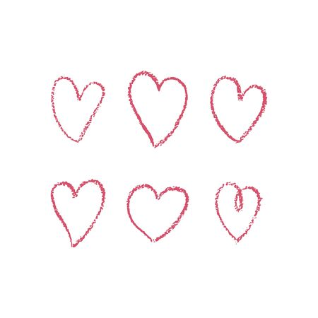 Set of hand drawn red hearts. Doodle outline of hearts with texture. Vector illustration. For decoration Valentine s day. For greeting card, banners, web design, decoration of the storefront, printing  イラスト・ベクター素材
