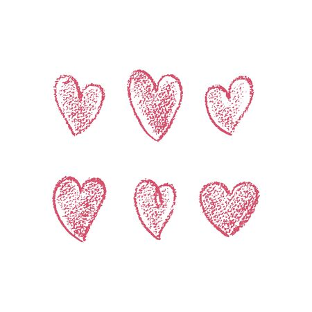 Set of hand drawn red hearts. Drawn hearts with scribble effect. Vector illustration. For decoration Valentine s day. For greeting card, banners, web design, decoration of the storefront, printing.