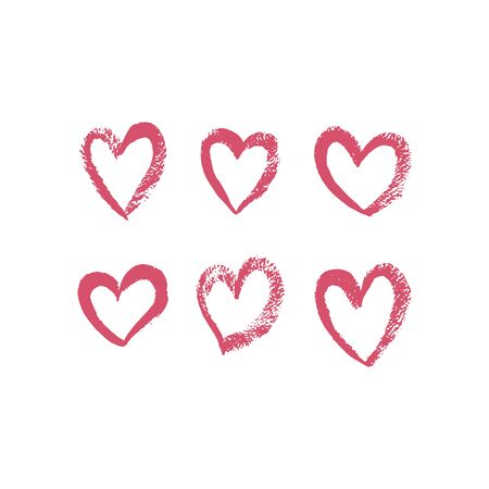 Set of hand drawn red hearts. Hearts drawn with brush. Vector illustration. For decoration Valentine s day. For greeting card, banners, web design, decoration of the storefront, printing on textile.