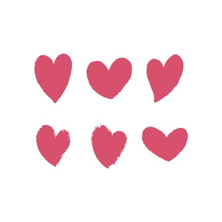 Set of hand drawn red hearts with texture. Vector illustration. For decoration Valentine s day. For greeting card, banners, web design, decoration of the storefront, printing on textile, crockery.
