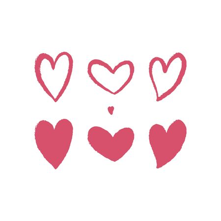 Set of hand drawn red hearts with texture. Vector illustration. For decoration Valentine s day. For greeting card, invitations, banners, web design, decoration of the storefront, printing on textile.