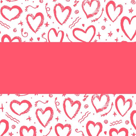 White background with hand drawn red hearts, arrows. Place for text. Vector illustration. For decoration Valentine s day. For greeting card, banners, web, decoration of the storefront, printing.
