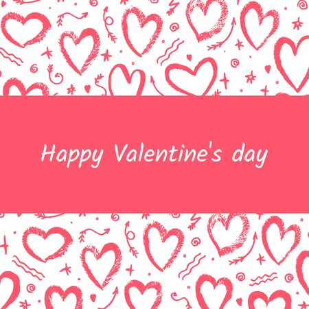 Greeting card Valentine s day on white background with hearts. Vector illustration. For decoration Valentine s day. For greeting card, banners, web design, decoration of the storefront, printing. Illusztráció