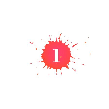 Icon with number one. Hand drawn red paint spot. Number 1 on blot. Vector isolated illustration in flat style. For web design, greeting cards, baby albums, banners, invitations, birthday decoration.