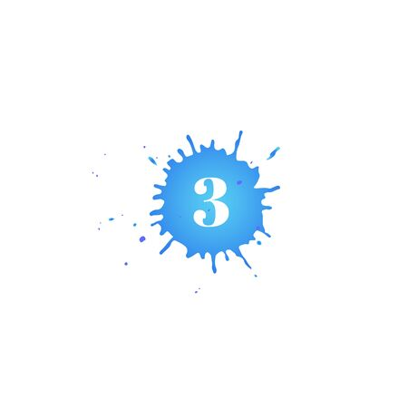Icon with number three. Hand drawn blue paint spot. Number 3 on blot. Vector isolated illustration in flat style. For web, greeting cards, baby albums, banners, invitations, birthday decoration.
