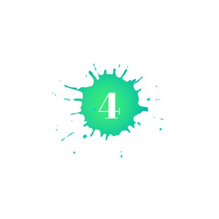 Icon with number four. Hand drawn green paint spot. Number 4 on blot. Vector isolated illustration in flat style. For web, greeting cards, baby albums, banners, invitations, birthday decoration.