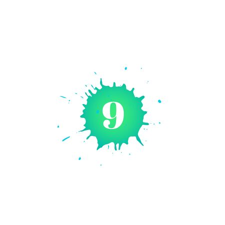 Icon with number nine. Hand drawn green paint spot. Number 9 on blot. Vector isolated illustration in flat style. For web, greeting cards, baby albums, banners, invitations, birthday decoration.
