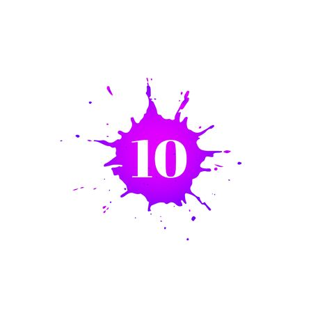 Icon with number ten. Hand drawn purple paint spot. Number 10 on blot. Vector isolated illustration in flat style. For web, greeting cards, baby albums, banners, invitations, birthday decoration. Иллюстрация