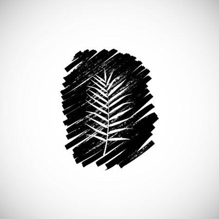 Tropical leaf on white background. Vector illustration.