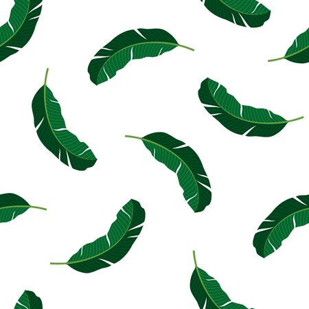 Seamless pattern with tropical leaves. Vector illustration of summer.