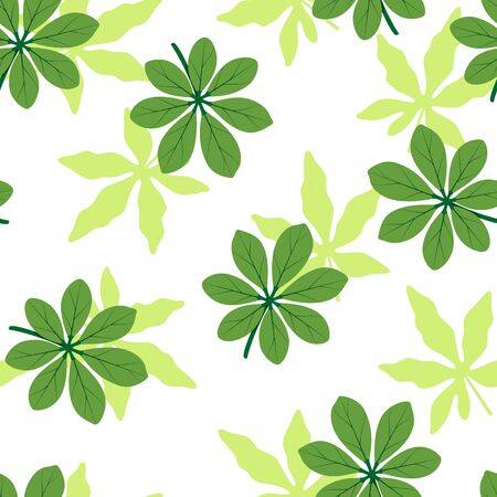 Summer seamless pattern. Tropical leaves. Vector illustration.