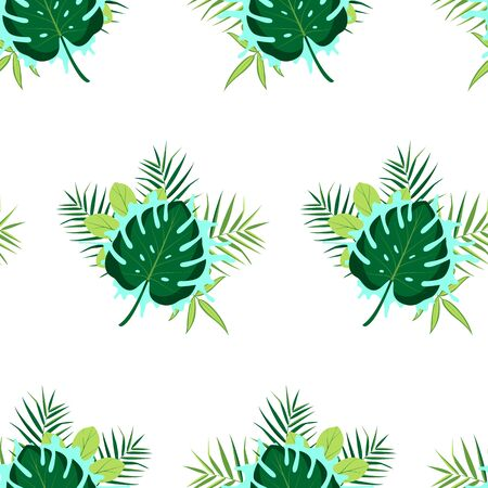 Tropical seamless pattern with leaves. Vector illustration. Vector Illustration
