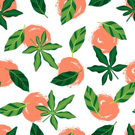 Tropical seamless pattern with leaves. Vector illustration of summer. Exotic wallpaper with hand drawn orange circles on white background. For web, banners, scrapbooking, printing on fabric, wrapping