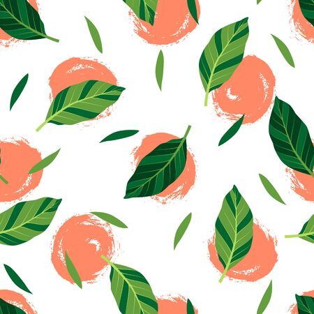 Tropical seamless pattern with green leaves and hand drawn orange circles. Vector illustration of summer. Exotic wallpaper on white background. For banners, scrapbooking, printing on fabric, wrapping.