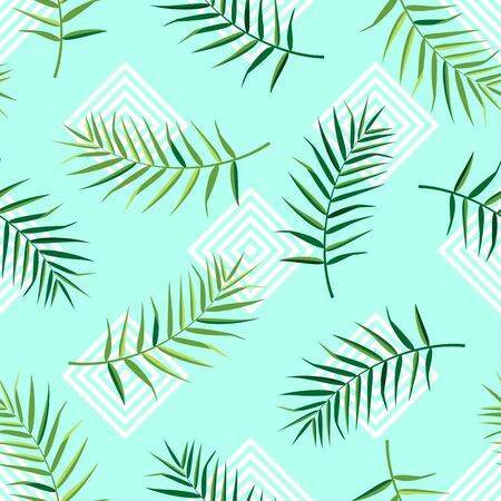 Tropical seamless pattern with palm leaves. Vector illustration of summer. Exotic wallpaper with geometric pattern on blue background. For web, banners, scrapbooking, printing on fabric, wrapping. Stock Illustratie