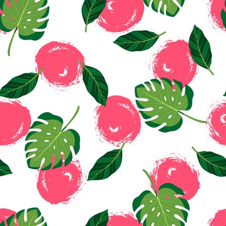 Tropical seamless pattern with monstera leaves and hand drawn red circles. Vector illustration of summer. Exotic wallpaper on white background. For banners, scrapbooking, printing on fabric, wrapping. Stock Illustratie