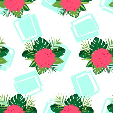 Tropical seamless pattern with green leaves. Vector illustration of summer. Exotic wallpaper with hand drawn shapes on white background. For web, banners, scrapbooking, printing on fabric, wrapping.