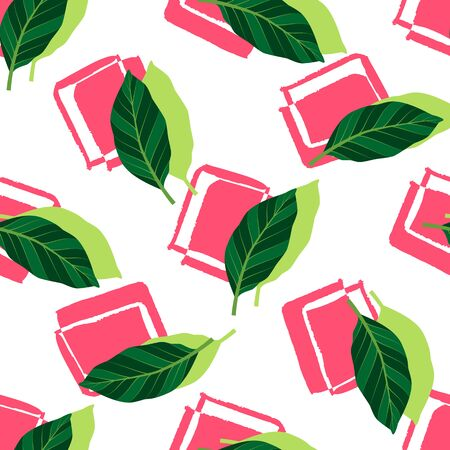 Tropical seamless pattern with green leaves. Vector illustration of summer. Exotic wallpaper with hand drawn red shapes on white background. For banners, scrapbooking, printing on fabric, wrapping.