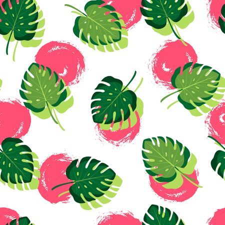 Tropical seamless pattern with monstera leaves. Vector illustration of summer. Exotic wallpaper with hand drawn red circles on white background. For banners, scrapbooking, printing on fabric, wrapping