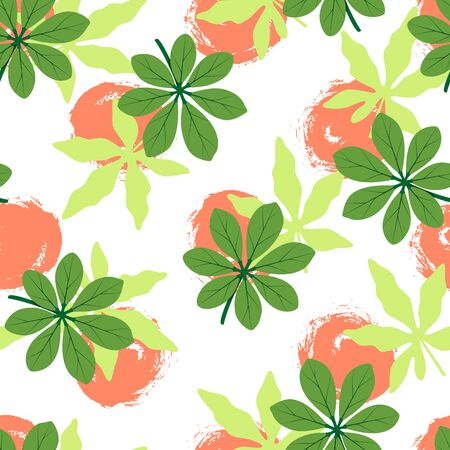 Tropical seamless pattern with different leaves and hand drawn circles. Vector illustration of summer. Exotic wallpaper on white background. For banners, scrapbooking, printing on fabric, wrapping.