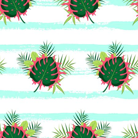 Tropical seamless pattern with green leaves and hand drawn lines. Vector illustration of summer. Exotic wallpaper on white background. For web, banners, scrapbooking, printing on fabric, wrapping.