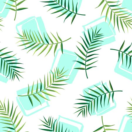 Tropical seamless pattern with palm leaves. Vector illustration of summer. Exotic wallpaper with hand drawn shapes on white background. For web, banners, scrapbooking, printing on fabric, wrapping.