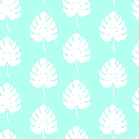 Tropical pattern with monstera leaves on blue background. Vector illustration of summer. Seamless exotic wallpaper. For web design, banners, scrapbooking, printing on fabric, wrapping paper, bed linen