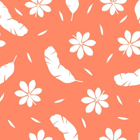 Tropical pattern with different leaves on orange background. Vector illustration of summer. Seamless exotic wallpaper. For web, banners, scrapbooking, printing on fabric, wrapping paper, packaging.
