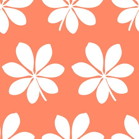 Tropical pattern with large leaves on orange background. Vector illustration of summer. Seamless exotic wallpaper. For web design, banners, scrapbooking, printing on fabric, wrapping paper, packaging.