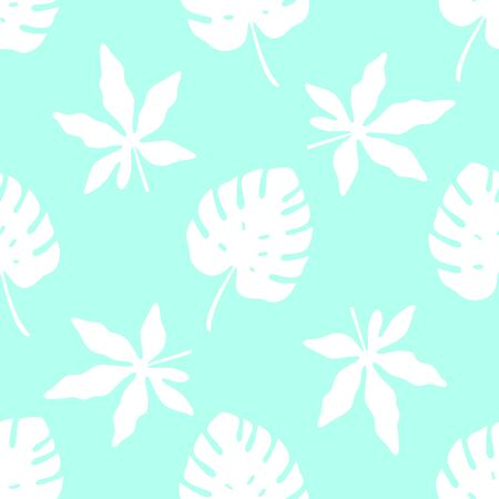 Tropical pattern with leaf silhouettes on blue background. Vector illustration of summer. Seamless exotic wallpaper. For web, banners, scrapbooking, printing on fabric, wrapping paper, packaging.