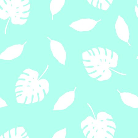 Tropical pattern with monstera leaves. Vector illustration of summer. Seamless exotic wallpaper on blue background. For web design, banners, scrapbooking, printing on fabric, wrapping paper, packaging