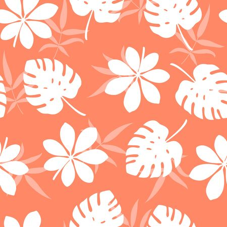 Tropical pattern with different leaves. Vector illustration of summer. Seamless exotic wallpaper on orange background. For web, banners, scrapbooking, printing on fabric, wrapping paper, packaging.