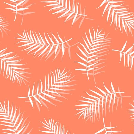 Tropical pattern with palm leaves. Vector illustration of summer. Seamless exotic wallpaper on orange background. For web design, banners, scrapbooking, printing on fabric, wrapping paper, packaging. Stock Illustratie